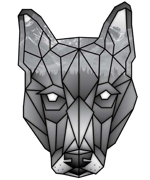 Black and white geometric dog logo with forest and mountains