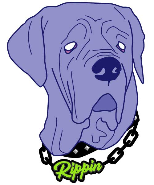 Purple dog illustration with RIPPIN chain necklace