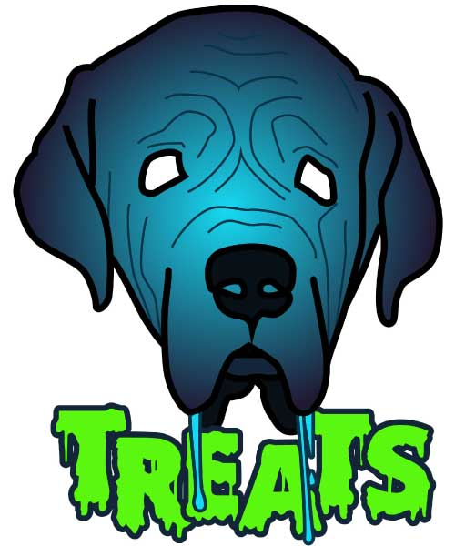 Drooling dog illustration with glowing TREATS text