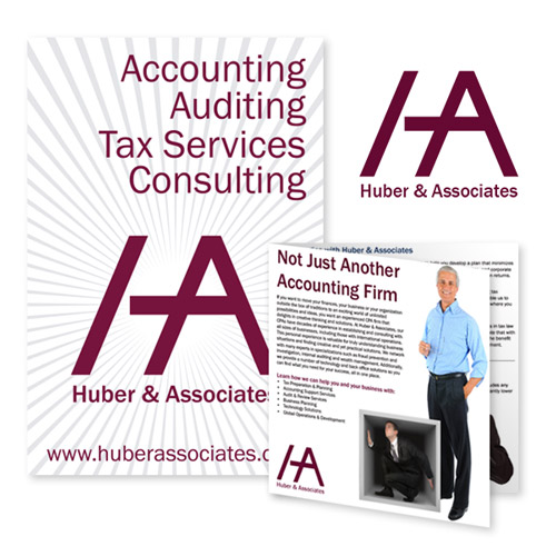 Huber & Associates accounting rebranding - logo, poster, and brochure