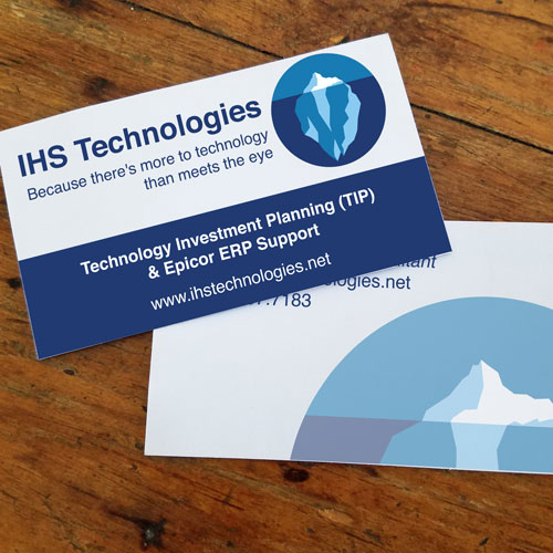 IHS Technologies business card with logo layout and design